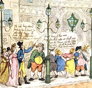 Gasbeleuchtung in London 1810 (Wikimedia CC, bearb MSchmidt)