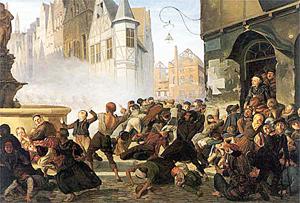 Hoyoll, Zerstörung eines Bäckerladens (Breslau?), 1846 (Kunstforum Ostdt. Galerie Regensburg / Land NRW)